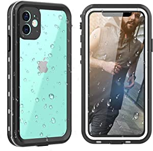 """TIPICOOL iPhone 11 Waterproof Case with Strap, Full-Body Rugged Case with Built-in Screen Shockproof Dropproof Cover IP68 Certified Waterproof Case for iPhone 11(6.1"""" Clear+White)"""
