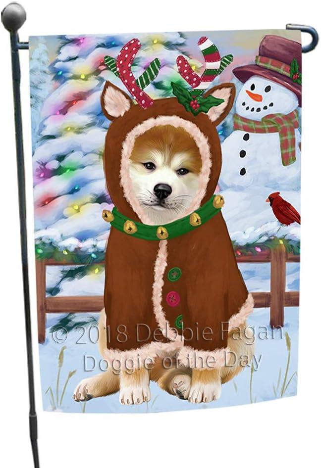 Doggie of the Day Christmas Gingerbread House Candyfest Akita Dog Garden Flag GFLG56675