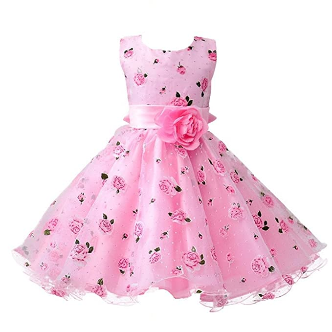 Amazon.com  Berngi Girls Cotton Sleeveless Princess Dress with Flower for Children  Clothes Kids Wedding Party Birthday Dresses  Clothing 93407932760c