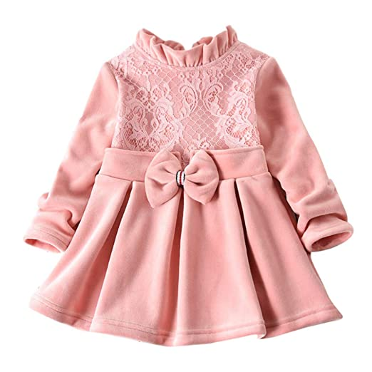b6b81896e Amazon.com  Toddler Baby Kids Girls Solid Thick Lace Bow Ruched ...