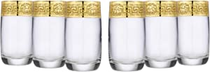 Gold Tumblers Greek Key Rock Glassware Set 6-pc, Water Glasses (Medusa)