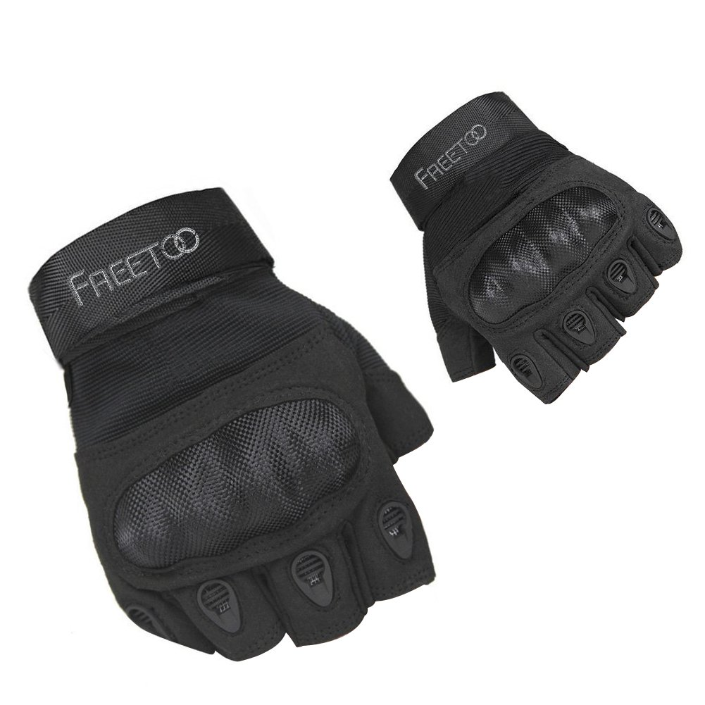 FREETOO Tactical Military Rubber Hard Knuckle Outdoor Gloves for Men