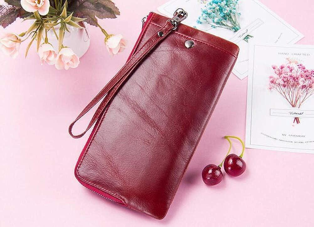 red. casual bag Lady leather purse zipper zipper