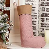 Piper Classics Red Check & Burlap Christmas Stocking w/Jingle Bells, 12'' x 20'', Country Farmhouse Holiday Décor