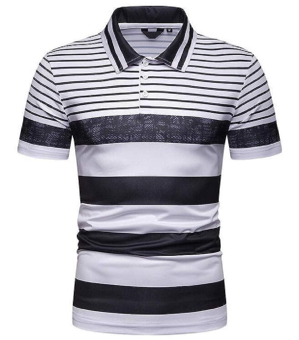 GRMO Men Summer Simple Horizontal Stripes Short Sleeve Color Blocks Polo Shirt