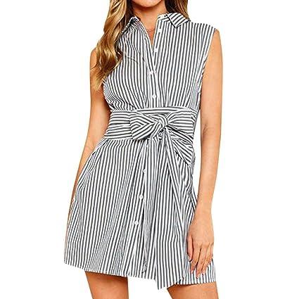 Vestidos Mujer 2019 SHOBDW Verano Playa Mar Vendaje Rayas Impresas Sin Mangas Botón Cintura Alta Mini Camisa con Cuello Vuelto Vacaciones Vestimenta Casual ...