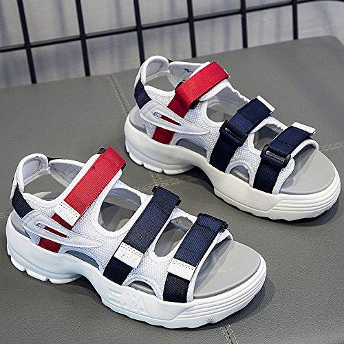 Roman QQWWEERRTT Femmes Sandales Forme Nouveau Sandales Sport Style D'été Vintage Bottom blanc Mode Casual Universelle Plate Chaussures Épais wqFZFgfc
