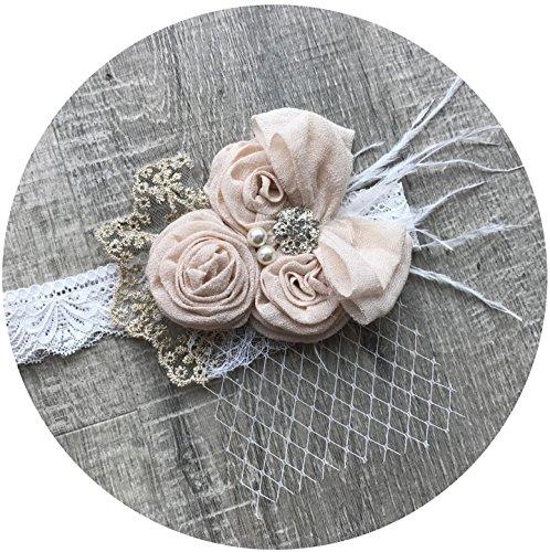 (Topmaker Backless A-line Lace Back Flower Girl Dress (L Headband, Ivory Headband))