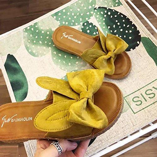 Slipper Schuhe Hausschuhe LHWY Flach Damen Strand Schön Sommer Sommer Decor Mädchen Sandalen Frauen Slips Gelb Flip Sandalen Flops Casual Hasenohren ppOwqP