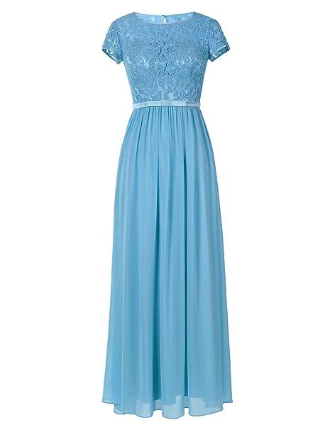 Vestido Ssyiz de dama de honor, cuello redondo, manga corta Azul azul claro Small