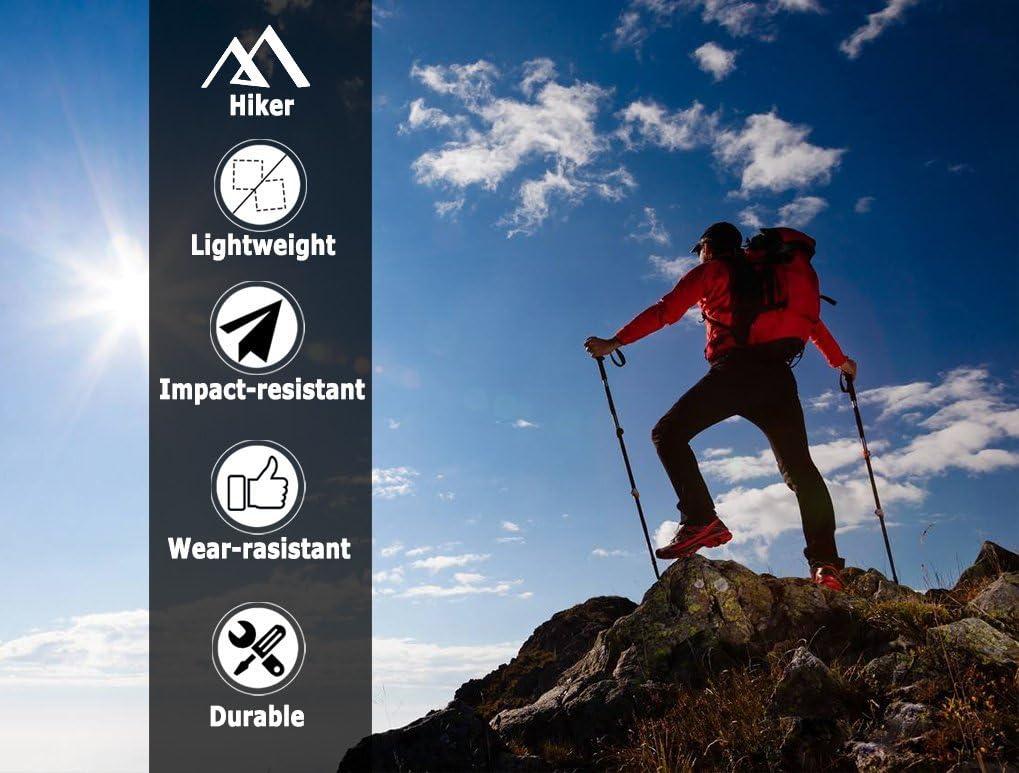 Irypulse Trekking PoleUltralight Durable Aviation Class Aluminum Walking Staff Antishock AdjustableLength Telescopic Outdoor Hicking//Climbing Stick for Men Women /& Kids