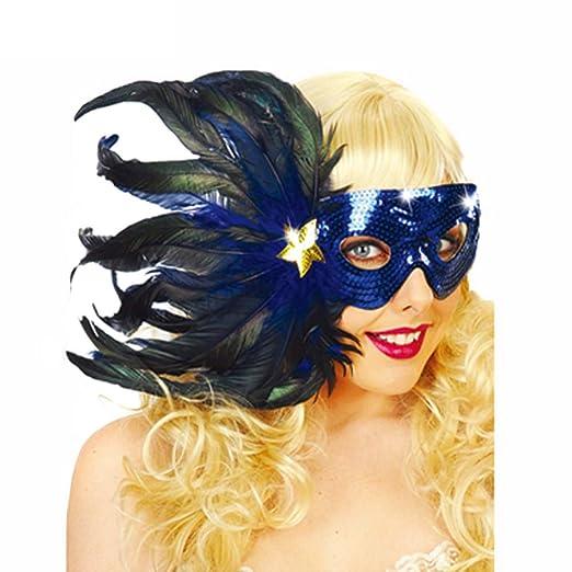 Partido de la máscara de la mascarada de la mujer plumas del ...