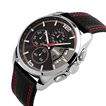 SKMEI Mens Analog Watches 50M Waterproof Leather Strap Dress Watch Casual Wrist Watch