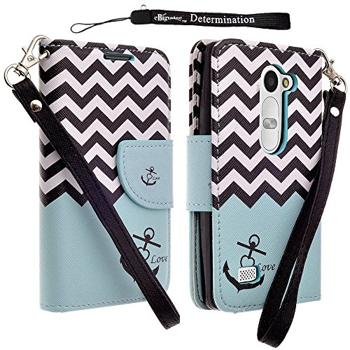 Fashion Design Teal Anchor Wallet Flip Case for LG Leon 4G LTE Android 5.0 Lollipop by eBigValue