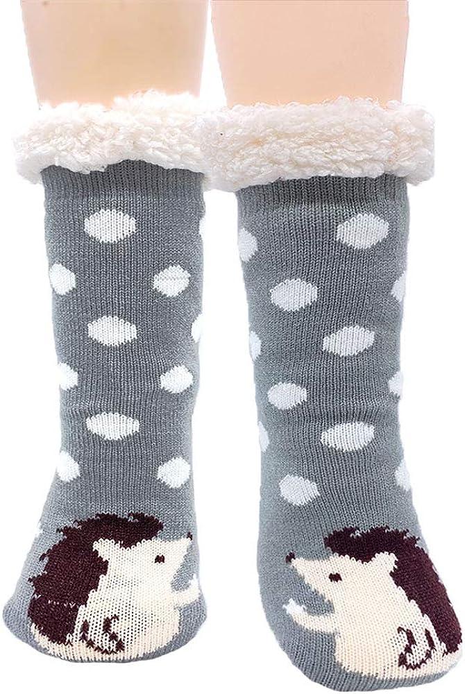 Jeasona Women's Fuzzy Slipper Socks With Grippers Warm Cozy Cute Animal Gifts
