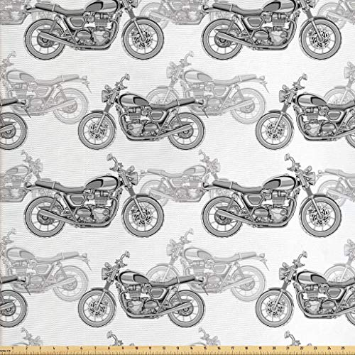 Ambesonne Motorcycle Fabric by The Yard, Realistic Grayscale Illustration of Classic Motorcycles with Many Details, Decorative Fabric for Upholstery and Home Accents, 3 Yards, Grey White Black