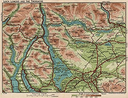Amazon com: LOCH LOMOND & THE TROSSACHS  Vintage map