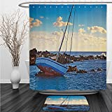 Vipsung Shower Curtain And Ground MatOcean Decor Yacht in the Sea Surrounded by Ledge Rocks Coastal Incident Shroud Crash Scene Blue BrownShower Curtain Set with Bath Mats Rugs