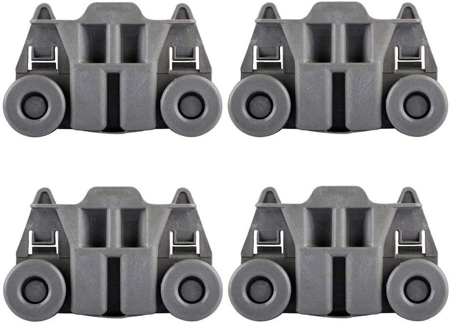 4 pcs W10195417 WPW10195417 Dishwasher Wheels Lower Rack for Whirlpool, Kenmore, Kitchen-Aid, Jenn-Air, Ikea. Dishrack Roller Replace Part 1872128, AP6016764, PS11750057, EAP11750057, WPW10195417VP
