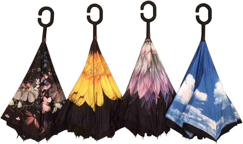 """DOUBLE LAYERED C-SHAPED HANDLE WIND PROOF COMES IN MULTIPLE COLORS INVERTED CAR UMBRELLA-WATER PROOF 45/"""" WIDE"""