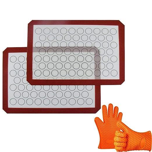 INCHANT silicona Macaron Hornear Mat con los guantes de silicona ...