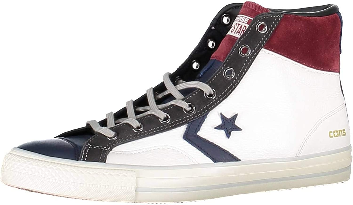 STAR PLAYER HI LEATHER SUEDE WHITEGREYBLUMAROON 155136C