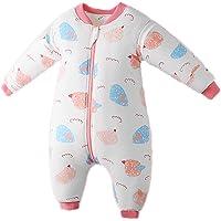 Bebé Saco de Dormir Algodón Bolsa de Dormir con Piernas 2 Tog Mameluco Primavera Pijamas Desmontable Manga Larga para…