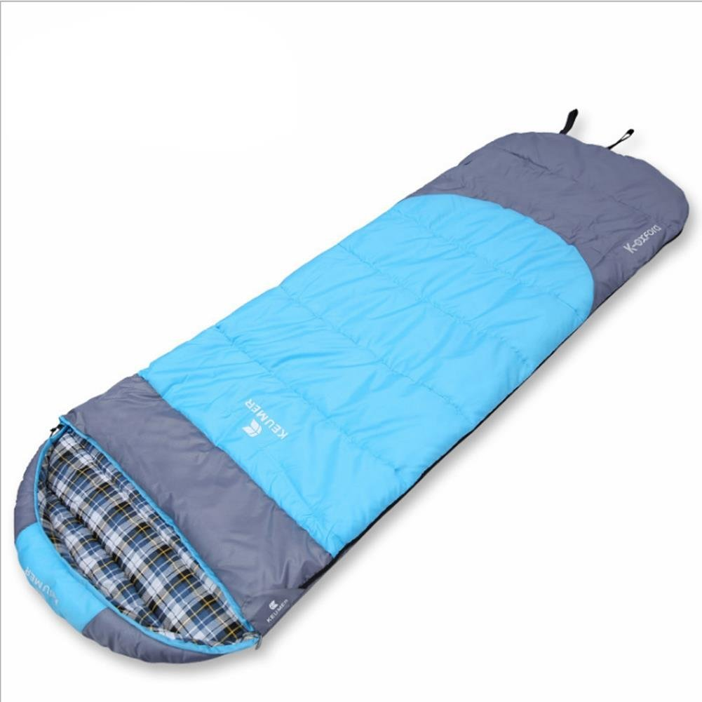 Light bluee 3 colors Sleeping Bag Adult Cotton Four Seasons Camping Sleeping Bag Thicken Envelope with California Style  Liner(orange)
