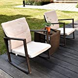 3 Piece Outdoor Patio Furniture Set - Rattan Rocking Wicker Chairs and Glass Coffee Table for Garden Bistro Beach (Bronze)