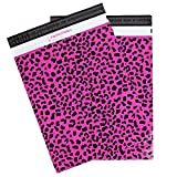 """Poly Mailers Hot Pink Cheetah Print Shipping Envelopes by Inspired Mailers, 14.5x19"""", 50 count"""