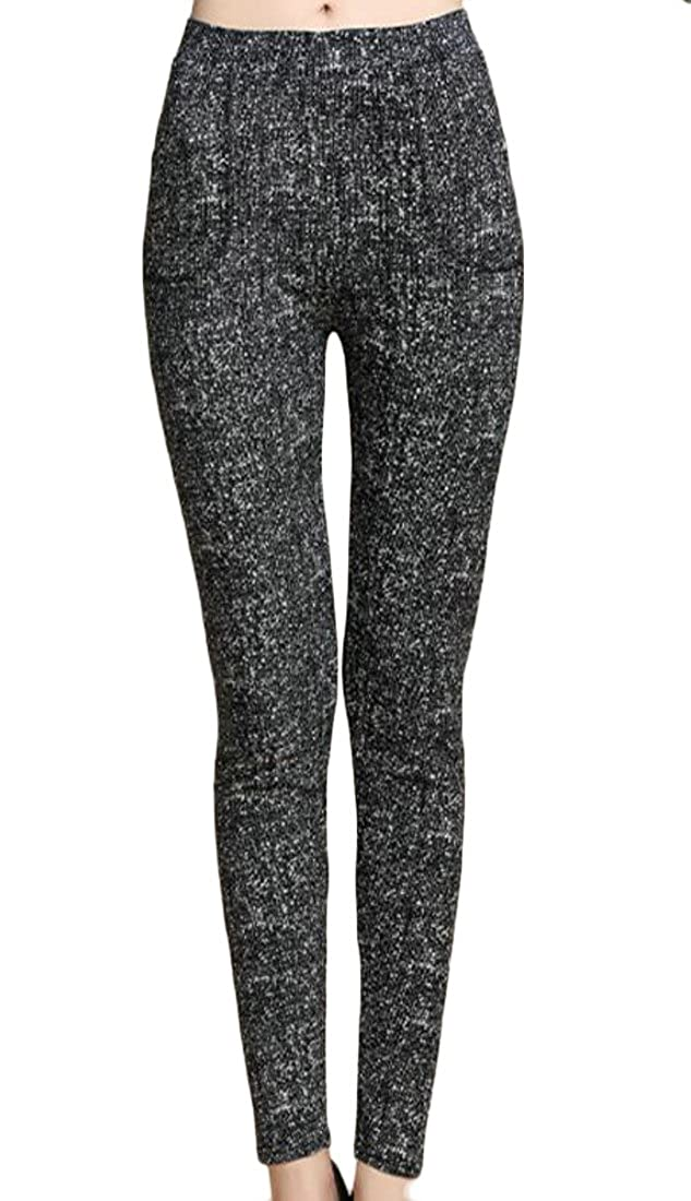 Cruiize Womens Warm Leggings Print Thicken Retro Fleece Slim Tights