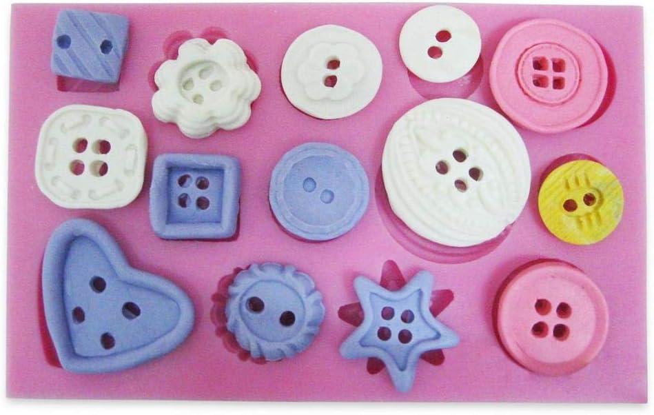 DIVISTAR Silicone Fondant Mould Cake Sugar paste Decorating Button pattern Baking Tools
