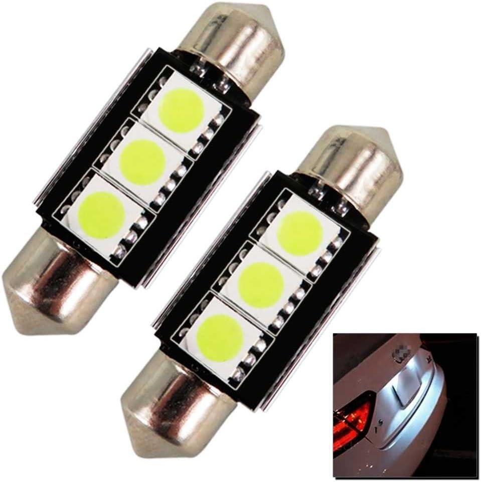 OcioDual Pack 2 Bombillas de Coche 3 LED SMD 5050 Led C5W 36MM Blanco Efecto Xenon 12V