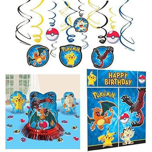 Pokemon Party Decorations Bundle - Table Decorating Kit, Scene Setter, and Hanging Swirls (Pokemon Party Decorations)