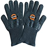 QSMOKER BEST Premium 932°F Extreme Heat Resistant Oven Gloves - 2 Gloves - Extreme BBQ Gloves EN407 Certified Smoker Gloves For Cooking, Smoker Pellets, Grilling.