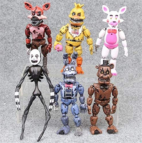 Panamat Action & Toy Figures - 6pcs/Set 14-17CM Anime FNAF Toys Five Nights at Freddy's Action Figure LED Light Movable Joints Assembled Disassembly Kids DIY T 1 PCs
