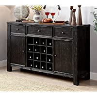 Furniture of America CM3324BK-SV Sania I Antique Black Server Dining Room Buffet