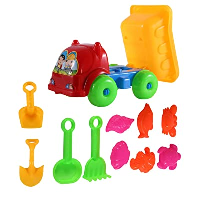 Liobaba 11Pcs Children Kids Beach Playing Truck Sand Dredging Toy Set Playing Toy Best Gift for Kids Children: Toys & Games