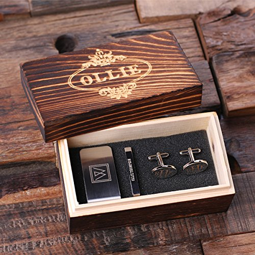 (New Town Creative Men's Monogram Dress Gift Set - Oval Easy-Clip Cuff Links, Money Clip and Tie)
