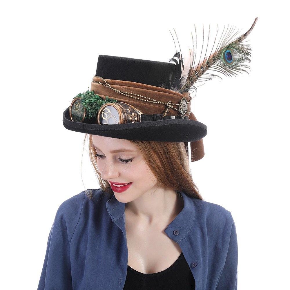 SCSY-Sombrero Sombrero de Sombrerero Loco Sombrero de Pirata Sombrero de Copa de Alicia en el País de Las Maravillas (Color : Negro, Tamaño : 55CM)