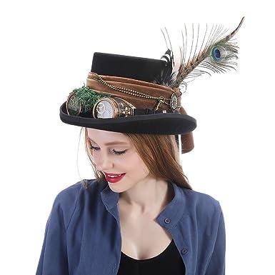 HHF Hats & Caps Sombrero de copa Steampunk Sombrero de sombrerero loco Sombrero de pirata Alicia