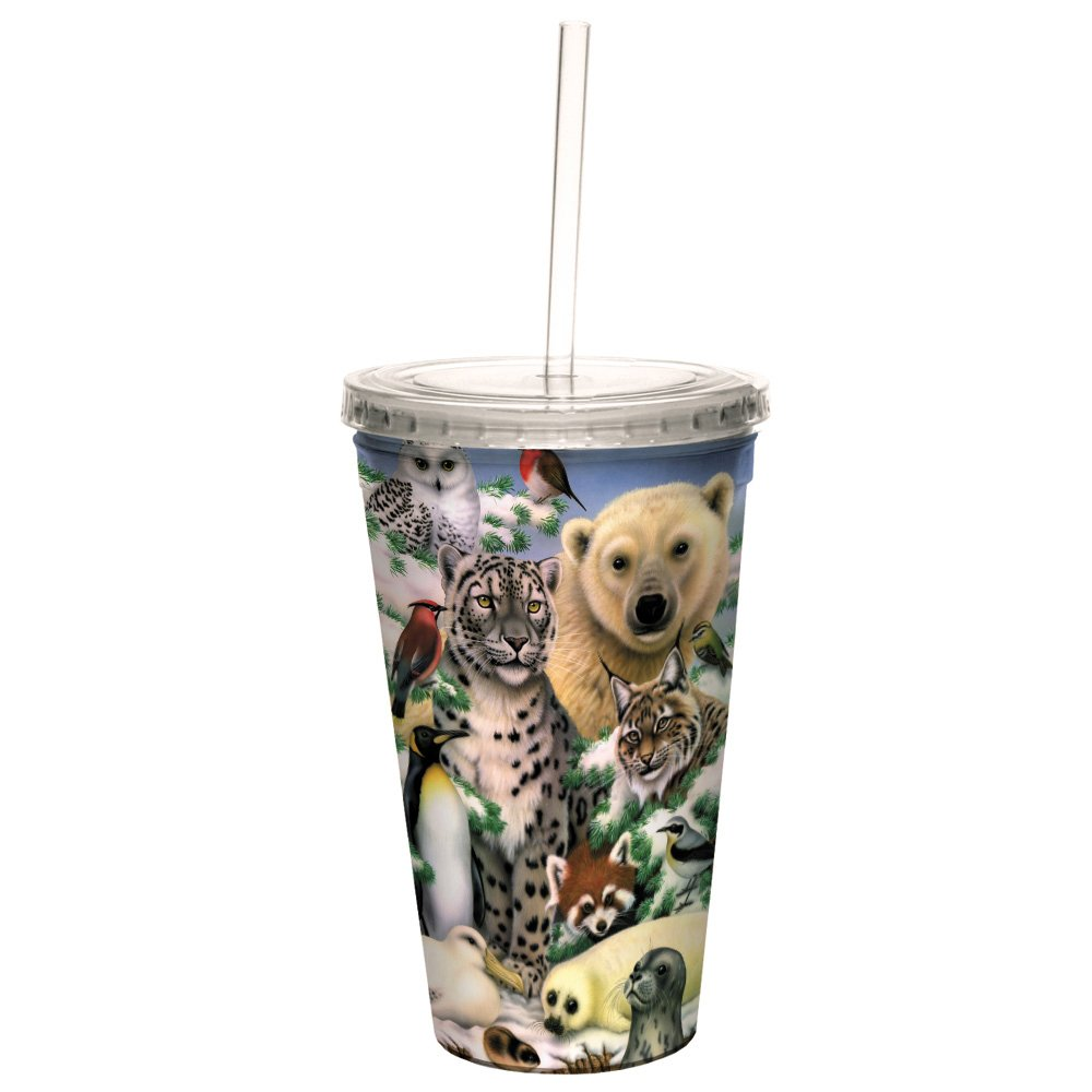 Tree-Free Greetings CC35802 Cool Cups, Double-Walled Pba Free with Straw and Lid Travel Insulated Tumbler, 16 Ounces, Arctic Animals