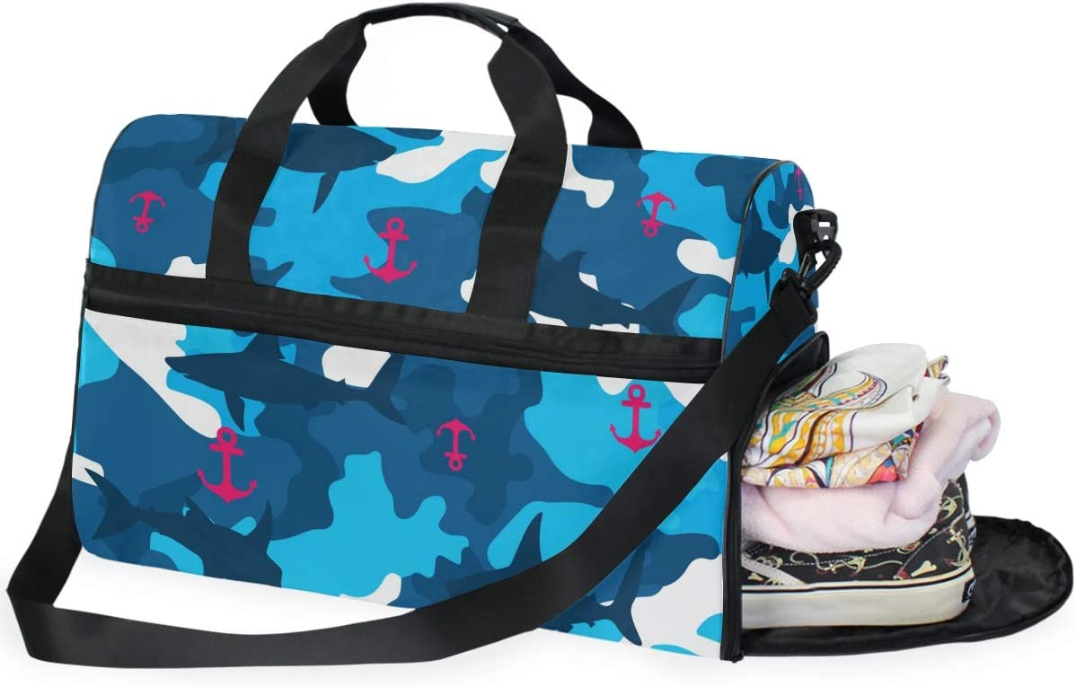 Shark And Anchor On Terrain Pattern Sports Gym Bag with Shoes Compartment Travel Duffel Bag for Men and Women