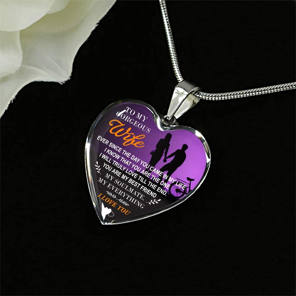 to My Wife Necklace Valentine Gift for Wife Birthday Gift for Wife-01 ZEN DEAL Silver Heart Pendant