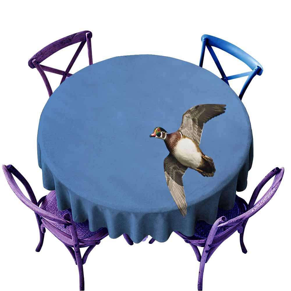 color08 40  Round(100CM) AndyTours Spill-Proof Table Cover,Male Wood Duck Flying in a bluee Sky3,High-end Durable Creative Home,70 INCH