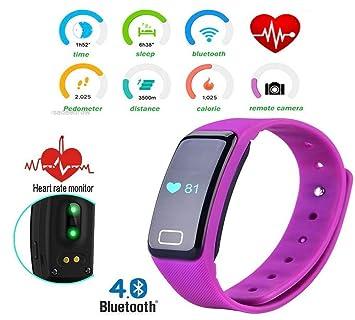 Getfit - Reloj Inteligente Bluetooth 4.0 X6S con Monitor de frecuencia cardíaca para controlar el sueño, grabación a Distancia, podómetro de Correa ...