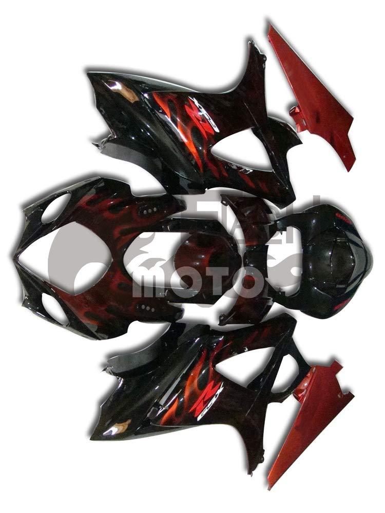 FlashMoto suzuki 鈴木 スズキ K7 GSXR1000 2007 2008用フェアリング 塗装済 オートバイ用射出成型ABS樹脂ボディワークのフェアリングキットセット (ブラック,オレンジ)   B07MNH8M61
