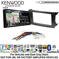 Volunteer Audio Kenwood DNX874S Double Din Radio Install Kit with GPS Navigation Apple CarPlay Android Auto Fits 2009-2013 Non Amplified Toyota Corolla (Dark Gray)