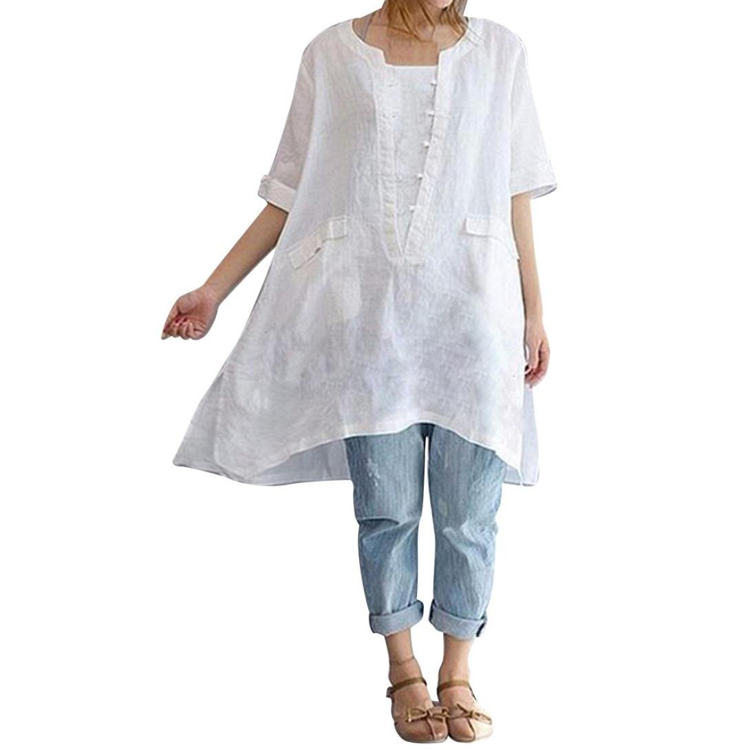 Kanhan Women's Plus Size Irregular O-Neck Casual Fashion Loose Linen Capless Shirt Vintage Blouse (4XL, White)