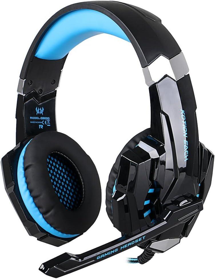 ÁpexTech KOTION EACH G9000 3,5 mm KOTION deindesign Gaming Headset Auriculares estéreo con micrófono luz LED para PlayStation 4 Tablet PC teléfonos móviles mediante(Negro+Azul)